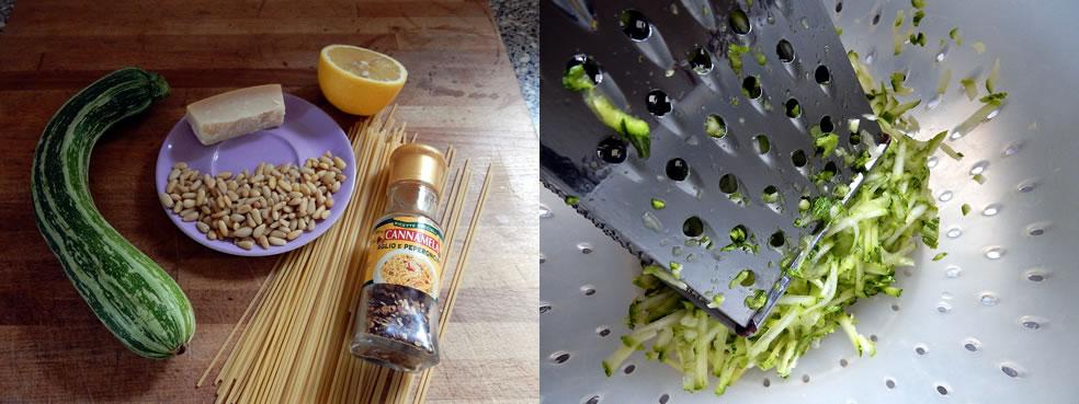 Ingrediënten voor pasta met courgette en citroenschil
