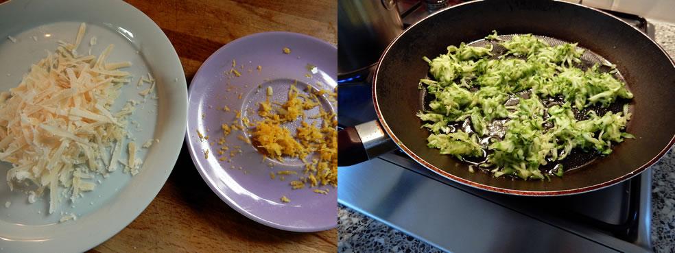 Bereiding Pasta met courgette en citroenschil